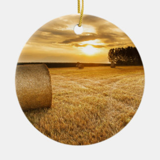 Hay bale round ceramic decoration