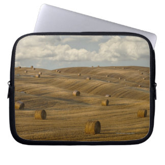 Hay bales and rolling landscape, Tuscany, Italy Laptop Sleeve