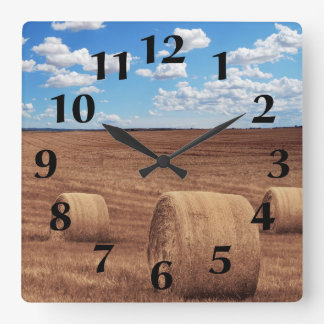 Hay Bales Harvest Square Wall Clock