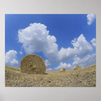 Hay Bales in Field Pienza Val d Orcia Siena Poster