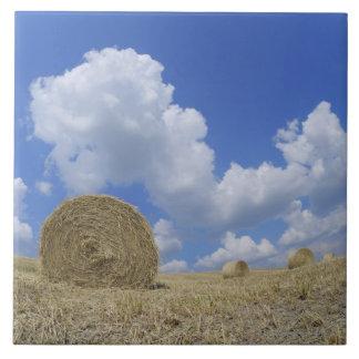 Hay Bales in Field, Pienza, Val d'Orcia, Siena Tile