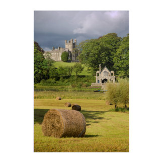 Hay Bales In Front Of Crom Castle Acrylic Wall Art
