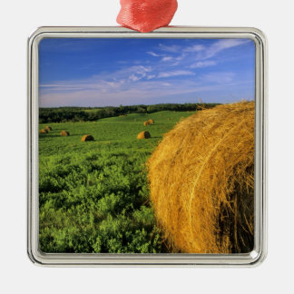 Hay Bales near Bottineau North Dakota Christmas Ornament