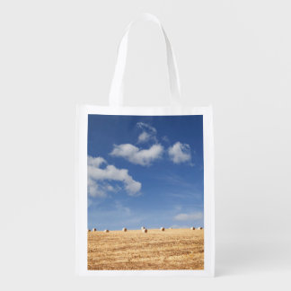 Hay Bales on Field Reusable Grocery Bag