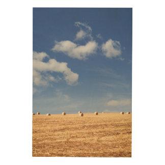 Hay Bales on Field Wood Print