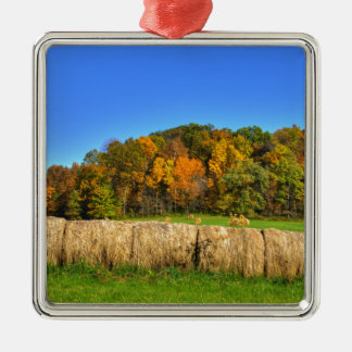 Hay Bales Silver-Colored Square Decoration