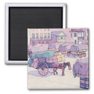 Hay Carts, Cumberland Market (oil on canvas) Magnet