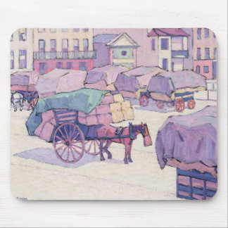 Hay Carts, Cumberland Market (oil on canvas) Mouse Mat