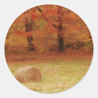 Hay Harvest In The Autumn Field Round Sticker