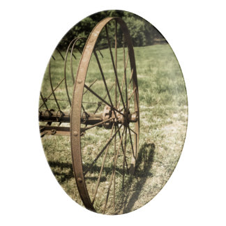 Hay Rake Wheel Aged Porcelain Serving Platter