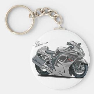 Hayabusa Grey Bike Basic Round Button Key Ring