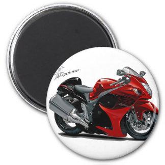 Hayabusa Red-Black Bike 6 Cm Round Magnet