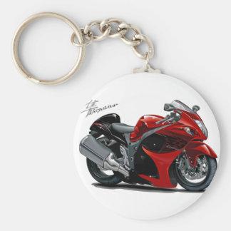 Hayabusa Red-Black Bike Basic Round Button Key Ring