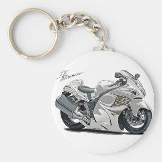 Hayabusa White Bike Basic Round Button Key Ring