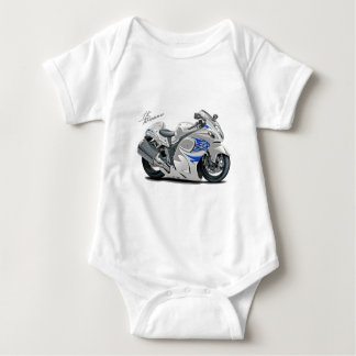 Hayabusa White-Blue Bike Baby Bodysuit