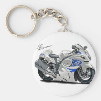 Hayabusa White-Blue Bike Basic Round Button Key Ring