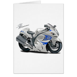 Hayabusa White-Blue Bike Greeting Card