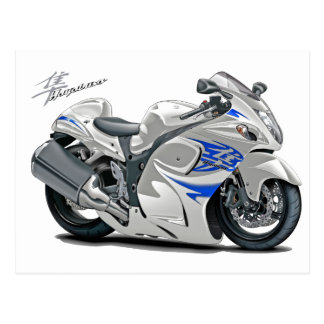 Hayabusa White-Blue Bike Postcard