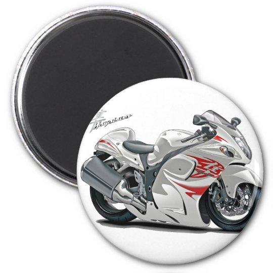 Hayabusa White-Red Bike 6 Cm Round Magnet