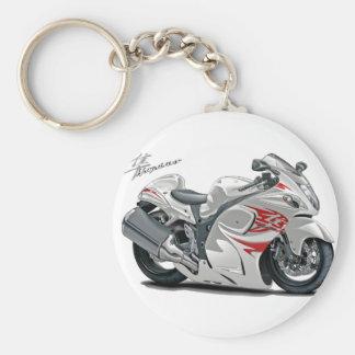 Hayabusa White-Red Bike Basic Round Button Key Ring