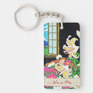 Hayashi Waichi Golden Rayed Lily and Cosmos Double-Sided Rectangular Acrylic Key Ring