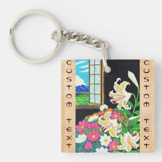 Hayashi Waichi Golden Rayed Lily and Cosmos Double-Sided Square Acrylic Key Ring