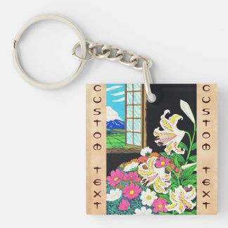Hayashi Waichi Golden Rayed Lily and Cosmos Double-Sided Square Acrylic Key Ring