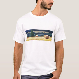 Haybales on hillside oil on canvas T-Shirt