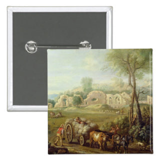 Haycart Passing a Ruined Abbey, c.1740-50 (oil on 15 Cm Square Badge