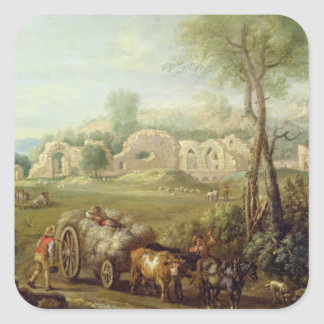 Haycart Passing a Ruined Abbey, c.1740-50 (oil on Square Sticker
