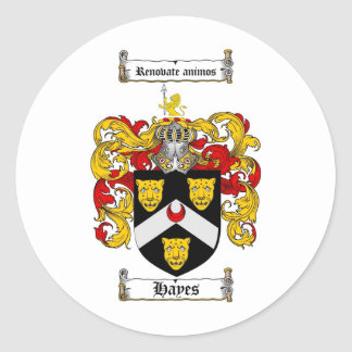 HAYES FAMILY CREST -  HAYES COAT OF ARMS ROUND STICKER