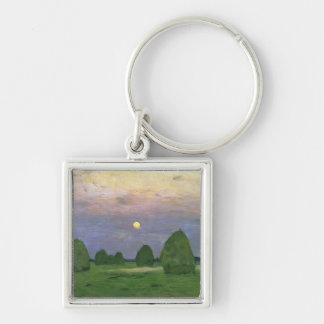 Hayricks at Dusk, 1899 Key Ring