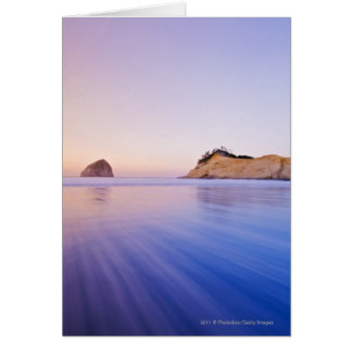 Haystack Rock At Dawn Blurred Blue Purple Waves Card