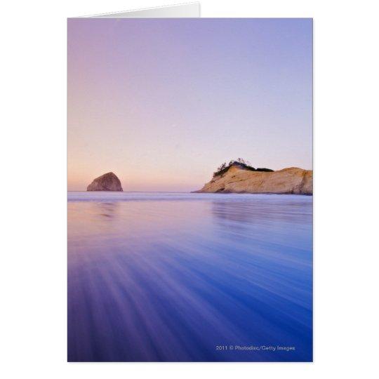 Haystack Rock At Dawn Blurred Blue Purple Waves Card