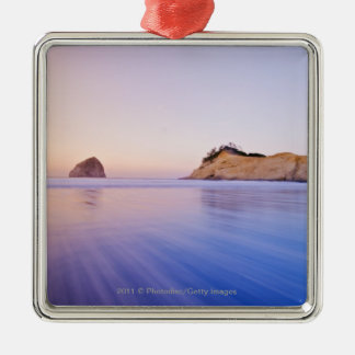 Haystack Rock At Dawn Blurred Blue Purple Waves Silver-Colored Square Decoration