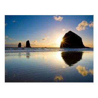Haystack Rock Sunset - Cannon Beach, Oregon Postcard