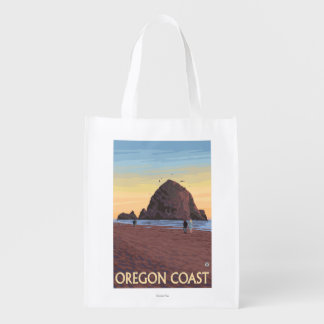 Haystack Rock Vintage Travel Poster
