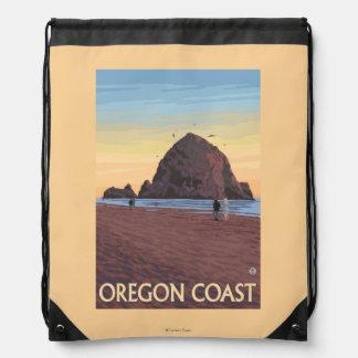 Haystack Rock Vintage Travel Poster Drawstring Bag