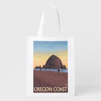 Haystack Rock Vintage Travel Poster Reusable Grocery Bag