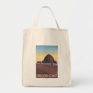 Haystack Rock Vintage Travel Poster Tote Bag