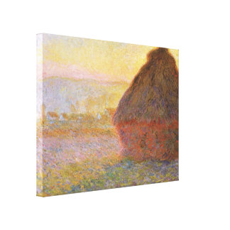 Haystacks during sunset by Claude Monet Gallery Wrapped Canvas