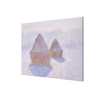 Haystacks Effect of Snow and Sun Canvas Print