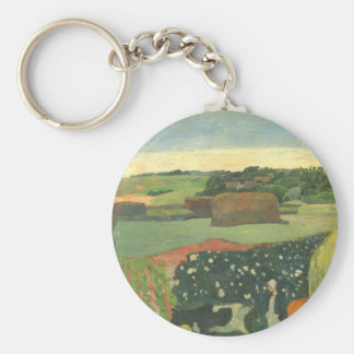 Haystacks in Brittany by Paul Gauguin, Vintage Art Key Ring