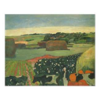 Haystacks in Brittany by Paul Gauguin, Vintage Art Poster