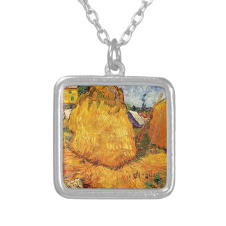 Haystacks in Provence by Van Gogh. Silver Plated Necklace