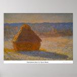 Haystacks in Snow by Claude Monet Poster