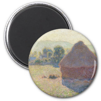 Haystacks in the Sunlight, Midday (1890) 6 Cm Round Magnet