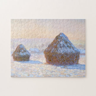 Haystacks Snow Effect Morning Monet Fine Art Jigsaw Puzzle
