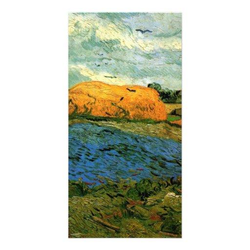 Haystacks under a Rainy Sky by Vincent van Gogh Custom Photo Card