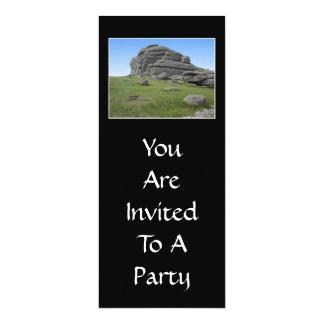 Haytor. Rocks in Devon England. On Black. 10 Cm X 24 Cm Invitation Card